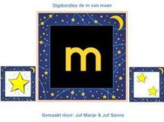 De m van maan digibordles. Eind-, begin- en middenklank en ook waar hoor je niet de m van maan.