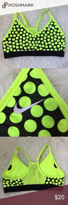 Nike Dri Fit V neck bra top Fun Nike polka dot bra top.  EUC Nike Intimates & Sleepwear Bras