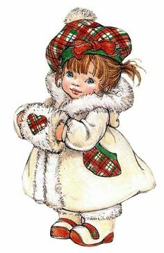 Vintage Christmas Girl in Plaid Christmas Clipart, Vintage Christmas Cards, Christmas Printables, Christmas Pictures, Christmas Art, Vintage Cards, Vintage Postcards, Vintage Images, Xmas