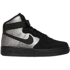 NIKE Air Force 1 Leather High Top Sneakers - Black/Silver ($160) ❤ liked on Polyvore featuring shoes, sneakers, black high tops, velcro sneakers, silver sneakers, black shoes ve silver shoes