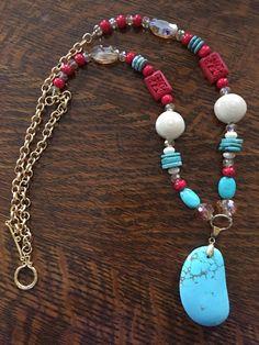 1081 collar largo con cristales facetados color turquesa