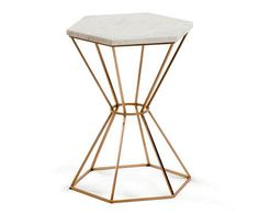 Kave Home Bijzettafel Linha - LaForma Limit - Marble Top Side Table, Round Side Table, Round Coffee Table, End Tables, Living Furniture, Table Furniture, Mesa Sofa, White Shag Rug, Steel Table