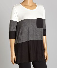Another great find on #zulily! Charcoal Color Block Chest-Pocket Tunic - Plus #zulilyfinds