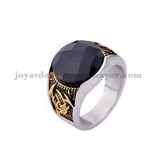 anillo de piedra negra en acero plateado inoxidable -SSRGG371809