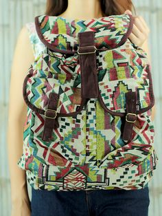 White ikat abstract tribal native design backpack by ThousandHands
