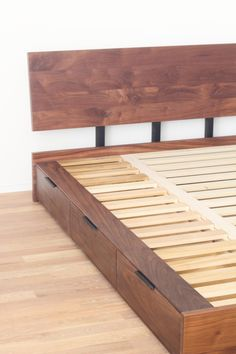 Now your bed can multitask as well as you do. Store your tees and socks in these drawers that are neatly tucked away, saving your floor space. Queen frame size - 63W x 85L Overall height - 35 Footboard height - 10 Floor to top of slats - 9.5   Toe kick to floor on all sides  3 drawers per side. Interior drawer dimensions for a queen 25.5W x 15D x 7H  Now your bed can multitask as well as you do. Store your tees and socks in these drawers that are neatly tucked away, saving your floor space.