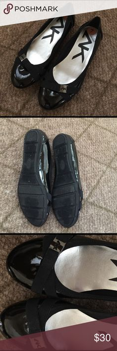 ANNE KLEIN SPORT, Black flat shoes! Cutest Black Flats! Black patent flats, nice padding for your foot.  AK7ABELL Manmade upper, Textile Lining, Balance manmade, Made in China 2101 0615 Worn once around the house!  Too small I needed a 7 1/2💕 ANNE KLEIN Shoes Flats & Loafers