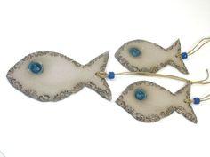 Ceramic ornament  decoration OOAK Fish ornament  set