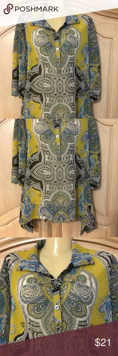 Designer alfani elegant blouse Beautiful stamped blouse with long sleeves and open to the front with buttons and buttonholes size 8 Alfani Tops Blouses