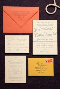 Brides: Scripted Wedding Invitation. Custom wedding invitation suite with nautical accents, price available upon request, Ladyfingers Letterpress