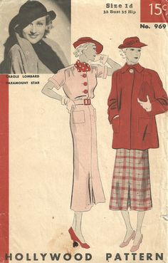 Hollywood 969 / Vintage 30s Sewing Pattern / Dress And Jacket / Size 14 Bust 32 by studioGpatterns on Etsy https://www.etsy.com/listing/212433642/hollywood-969-vintage-30s-sewing-pattern