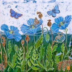 Himalyan Poppies and Malvern Hills print, limited edition, blue poppy, blue wild flowers, adonis but White Sky, Pale White, Flower Prints, Flower Art, Malvern Hills, Holly Blue, Summer Scenes, Blue Poppy, Blue Butterfly