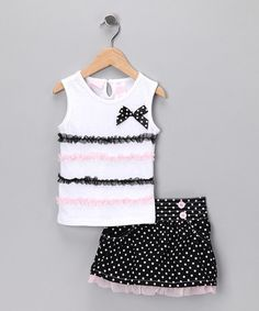 Take a look at this White Sheer Ruffle Tank & Skirt - Toddler & Girls by Young Hearts & Nannette on #zulily today!