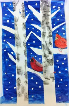 Cardinals on birch trees. Mask off trees and limbs with blue tape. Demonstrate how to draw cardinals and cover with masking fluid. Paint over all with dark blue/purple watercolor paint. Remove mask and tape and add color to birds and lines for bark (we used watercolor pencils). White tempera for snow. Tip - use the tip of the paintbrush handle for snow. Jennifer Behymer