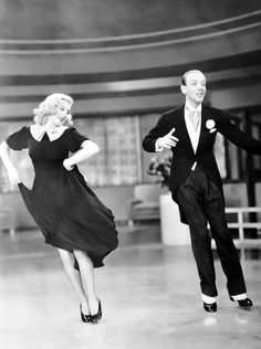 Fred Astaire and Ginger Rogers during the filming of Swing Time (1936)