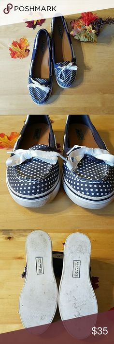 Sperry Top-sider Hailey shoes Sperry Top-Sider Hailey shoes EUC blue and white polka dots with white ribbon. Sperry Shoes