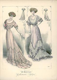 Evening dresses, Netherlands, 1908, De Gracieuse