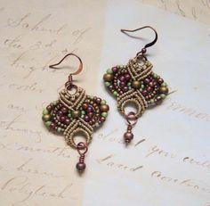 Micro macrame earrings by Sherri Stokey.