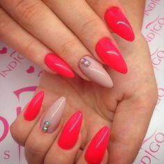 by Natalia Kondraciuk Indigo Young Team ! Follow us on Pinterest. Find more inspiration at www.indigo-nails.com #nailart #nails #indigo #red #nude #swarovski #autumn