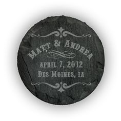 Round Slate Coasters (set of 4)  - Western Scroll personalized with names, date and location