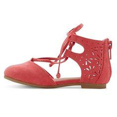 Toddler Girls' Tenley Ghillie Ballet Flats Cat & Jack - Coral (Pink) 10