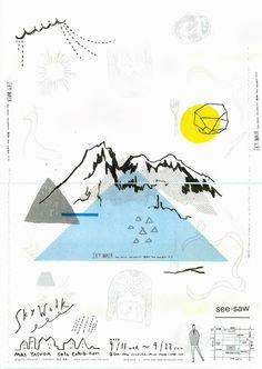 poster design graphism la montagne the mountain Japan Design, Web Design, Book Design, Design Art, Graphic Design Posters, Graphic Design Typography, Graphic Design Illustration, Graphic Design Inspiration, Graphic Art