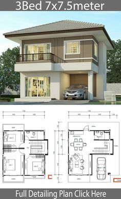 House design plan with 3 bedrooms - Home Design with Plan - Дом - Architecture Beautiful House Plans, Simple House Plans, Simple House Design, House Front Design, Modern House Design, Modern Houses, 2 Storey House Design, Duplex House Plans, Bungalow House Design
