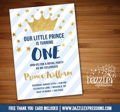 Printable Navy Blue and Gold Little Prince Birthday Invitation | Royal Boys 1st Birthday Party or for any age! | Confetti | Twinkle Little Star | Baby Shower | FREE thank you card included | Printable Matching Party Package Decorations Available! Banner | Signs | Labels | Favor Tags | Water Bottle Labels and more! www.dazzleexpressions.com
