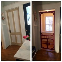 Vintage Screen Door Given New Life! - I've been searching for an old screen door to replace my wooden pantry door for months! Found this beauty at an architectu Vintage Screen Doors, Old Screen Doors, Storm Doors With Screens, Screen Door Pantry, Wooden Pantry, Hearth And Home, Pet Furniture, New House Plans, Front Door Decor