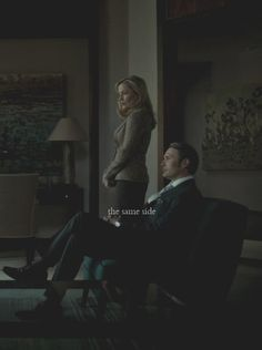 Dr. Bedelia du Maurier (Gillian Anderson) and Dr. Hannibal Lecter (Mads Mikkelsen).  Just a couple bitches being sexy.