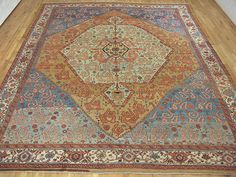 "Persian: Geometric 14' 0"" x 11' 0"" Antique Serapi Bakshaish at Persian Gallery New York - Antique Decorative Carpets & Period Tapestries"