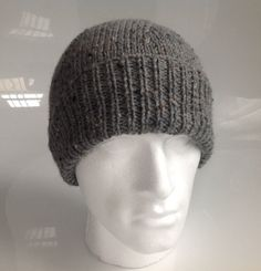 Mens Grey Fleck Aran Beanie Hat   Hand Knitted in by sewmoira