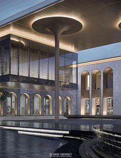 #致逸精筑#南昌金地中奥九颂都会之光 Facade Lighting, Exterior Lighting, Lighting Design, Facade Architecture, Concept Architecture, Landscape Architecture, Mall Facade, Residential Building Design, Light Art Installation