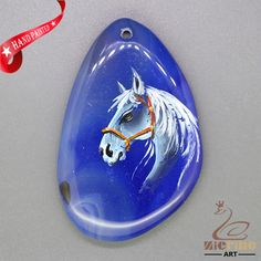 STONE  NECKLACE HAND PAINTED HORSE GEMSTONE PENDANT BEAD ZL8010422 #ZL #Pendant