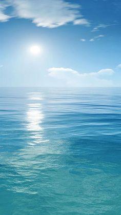Bright Sunny Scene Over Ocean iPhone se wallpaper