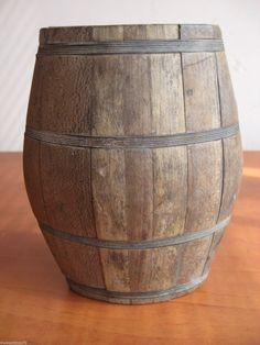 Antique Primitive Old RARE Small Whiskey Brandy Wood Flask Canteen Keg Barrel | eBay