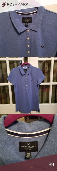 American Eagle Dark Blue Ladie's Pol...  #WomanPoloShirts  American Eagle Dark Blue Ladie's Polo Shirt – EUC American Eagle Dark Blue Ladie's Polo Shirt – Size: Medium – Color: Dark Blue – 100% cotton – Small eagle logo on chest  – Smoke-free home American Eagle Outfitters Tops