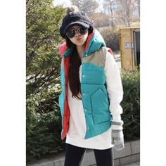 $11.94 Casual Color Matching Korean Style Detachable Cotton Hooded Vest For Women