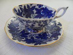 Coalport Blue Maple Teacup and Saucer English bone china blue and white design gold rim 1950s