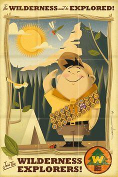 Flyer Goodness: Retro Disney/Pixar Posters by Eric Tan Up Pixar, Disney Pixar Up, Art Disney, Disney And Dreamworks, Disney Love, Disney Couples, Disney Villains, Tom Whalen, Cartoon Network Adventure Time