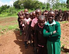 Students line up to see the Community Health Nurse! #publichealth #Kenya