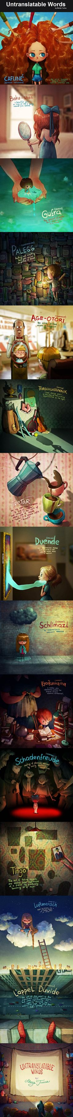 I´m having a ´duende´ over here. 14 Untranslatable Words Explained With Cute Illustrations Unusual Words, Rare Words, New Words, Writing Words, Writing Prompts, Writing Tips, Pretty Words, Beautiful Words, Cool Words