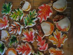 autumn cookies, acorns and leaves