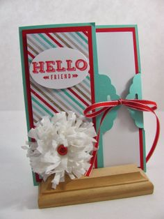 Unique Ink: Scalloped Tag Topper Punch-Hello Card