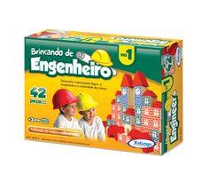 5275.4 - Brincando de Engenheiro Nº 1 |  Com 42 peças em madeira. | Faixa etária: + 3 anos | Medidas: 20,5 x 5 x 15,5 cm | Educativos | Xalingo Brinquedos | Crianças