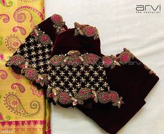 Arvi the couturier. Cutwork Blouse Designs, Pattu Saree Blouse Designs, Fancy Blouse Designs, Bridal Blouse Designs, Blouse Neck Designs, Sari Blouse, Blouse Patterns, Hand Work Blouse Design, Stylish Blouse Design