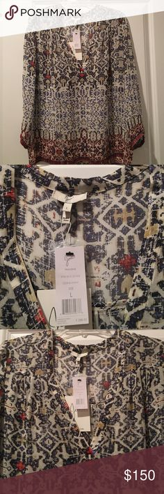 JOIE Printed V-neck Blouse Joie 3/4 Sleeve 100% Silk Rustic Tile Pattern Blouse with Deep V Neckline.  Spring/Summer 2016 Style!  NWT Joie Tops Blouses