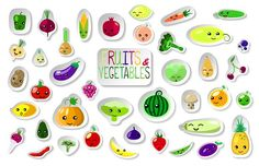 Summer Fruits and Vegetables Clipart by SunsetWatercolors on @creativemarket