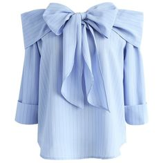 Chicwish Miraculous Stripe Off-shoulder Top in Blue (€39) ❤ liked on Polyvore featuring tops, blue, stripe top, blue striped top, bow tie top, blue top and off the shoulder tops