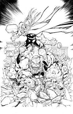 Thor Vs. Hulk - Inks over Mike Bowden by lebeau37.deviantart.com on @DeviantArt